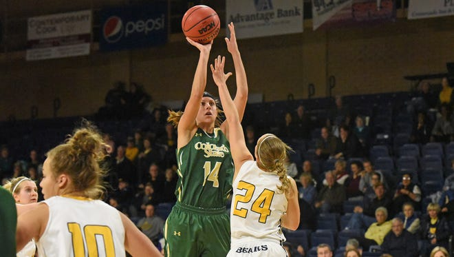 CSU's Jamie Patrick fires a shot during the Rams' 62-46 win over Northern Colorado Tuesday night. Patrick had a team-high 17 points.