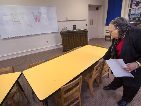 Virginia Hunter straightens up her Sunday School class