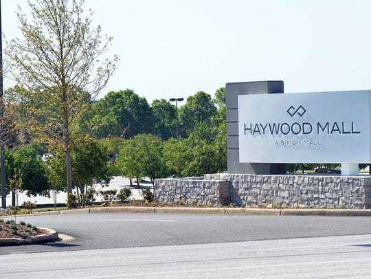 The entrance of the Haywood Mall on Haywood Road on