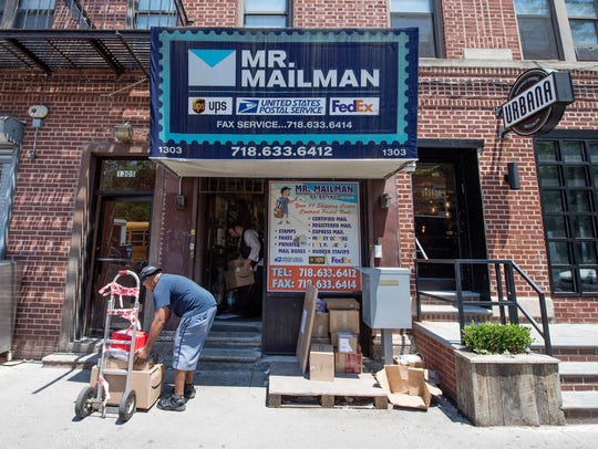 This Mr. Mailman location in New York City's Brooklyn borough is listed in incorporation records as the mailing address for two companies that Apple says imported counterfeits of the tech giant's power adapters and charging cables.