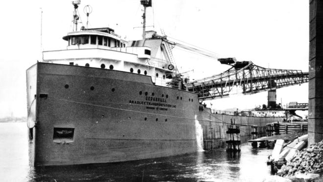 This is the Bradley Transportation Company limestone carrier Cedarville which sank in the Straits of Mackinac after a collision with a Norwegian freighter on May 7, 1965.