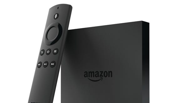 Amazon Fire TV with voice remote.
