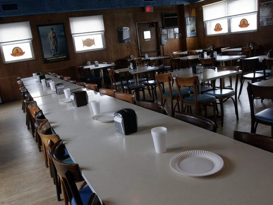 The large party room of the Nanuet Restaurant as it
