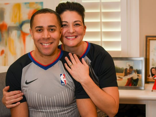 NBA referees Jonathan Sterling and Lauren Holtkamp at their home in Florida.