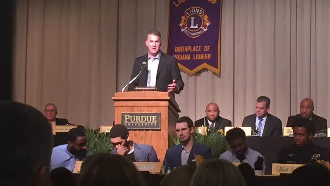 Purdue coach Matt Painter speaks at the 94th annual Purdue men's basketball banquet at the Purdue Memorial Union Ballroom.