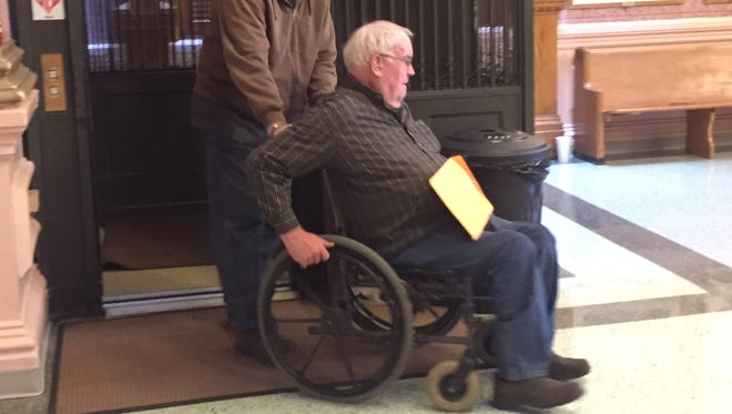 Rogue border collie breeder Randy Sanders arrived Wednesday for sentencing on convictions of neglecting his dogs.