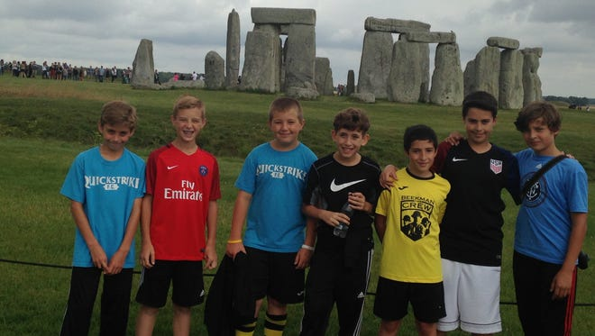 The Beekman Crew youth soccer team visits Stonehenge in Wiltshire, England.