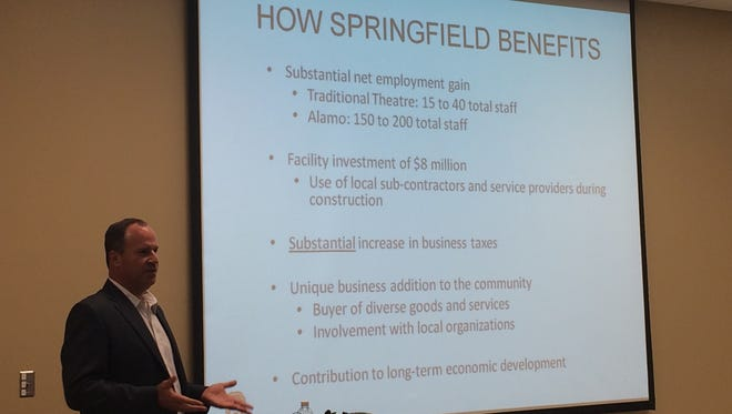 John Martin, co-owner of the Springfield Alamo Drafthouse franchise, pitches how the movie theater would benefit Springfield's economy at a City Council lunch meeting Sept. 27, 2016.
