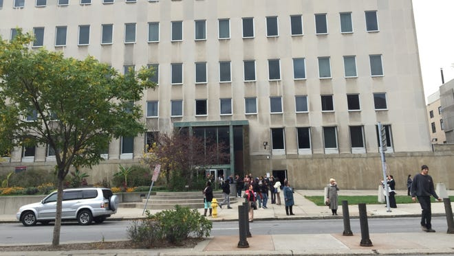 A power outage closed several buildings downtown on Oct. 30, 2017. The Hall of Justice was evacuated after power was disrupted,