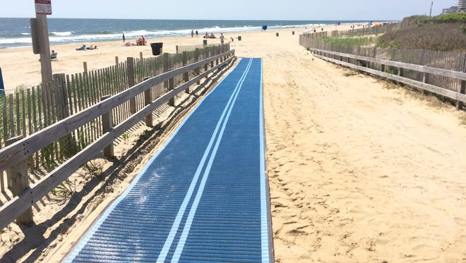 A beach mat installed at the 130th Street dune crossing in Ocean City.