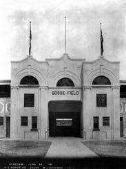 Bosse Field opened in 1915. The front entrance was