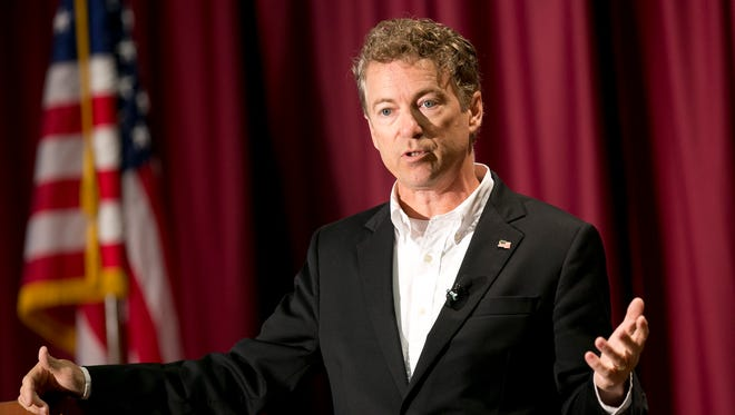 Sen. Rand Paul, R-Ky., speaks at a rally in Boise, Idaho, on Aug. 27, 2015.