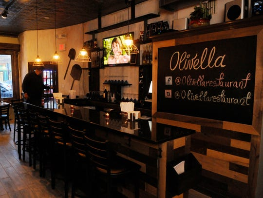 The bar area at Olivella. The restaurant seats 50.