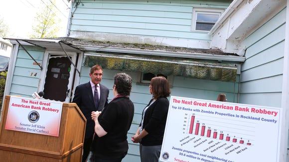 Senator Jeff Klein speaks with Stephanie Rojas, Housing