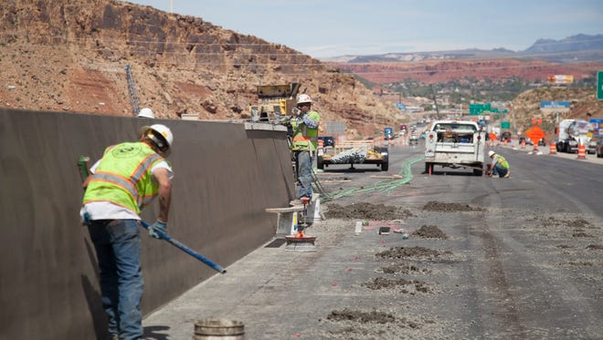Construction crews continue work on the I-15 overhaul near exit 4 Thursday, April 6, 2017.