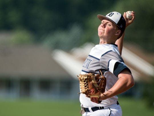 Dallastown pitcher Alex Weakland winds up to pitch