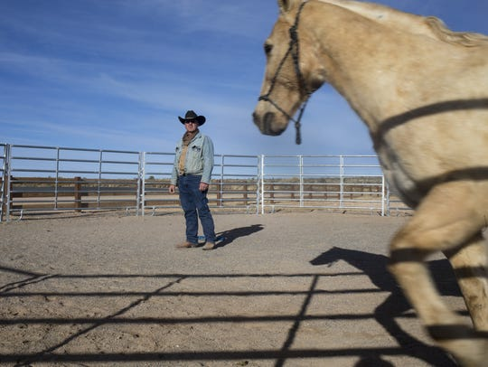 Sean Tolan watches Lefty run in a corral at Hualapai