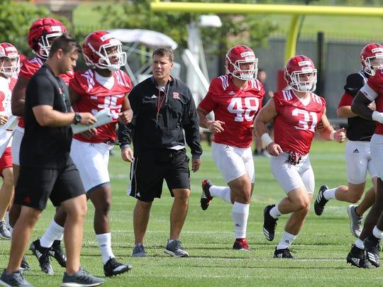 Chris Ash, Rutgers football head coach, coaches the