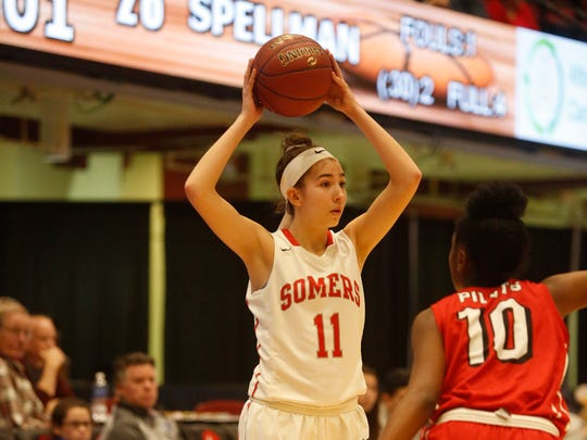 Somers' Liv Lipski (11) looks for an opening around