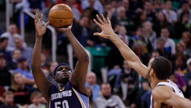 Memphis Grizzlies forward Zach Randolph (50) shoots over Utah Jazz center Rudy Gobert (27) in the second quarter at Vivint Smart Home Arena.