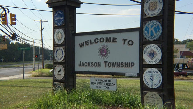 A sign on County Line Road welcomes visitors to Jackson Township.