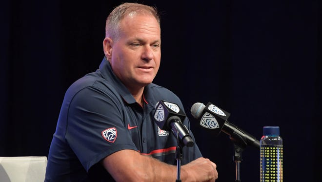 Arizona Wildcats coach Rich Rodriguez at 2016 Pac-12 Media Day on Jul 14, 2016, at Hollywood & Highland in Los Angeles.
