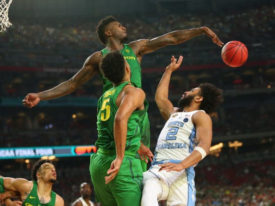 Oregon forward Jordan Bell had four blocked shots and a career-high 16 rebounds, but he'll be remembered for two missed rebounds late in the Ducks' Final Four loss to UNC.