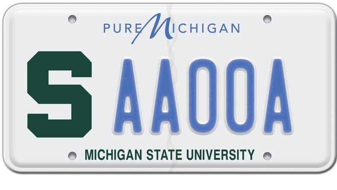 """The Michigan State University license plate, featuring a Spartan """"S,"""" is the state's most popular specialty plate, with more than 500,000 sold since the plate debuted in 2000."""