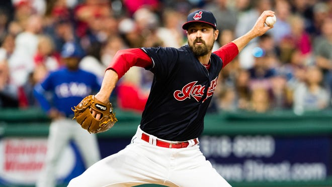 Indians reliever Andrew Miller pitches in the eighth inning against the Texas Rangers at Progressive Field on June 27, 2017 in Cleveland, Ohio.