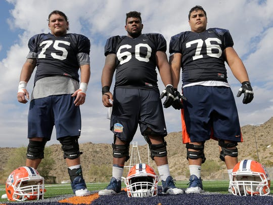 Members of the UTEP offensive line Derek Elmendorff, Eric Lee and Will Hernandez have been the anchors for the past two years at UTEP. UTEP will try to establish the running game against Florida Atlantic on Saturday, Oct. 10, 2015.