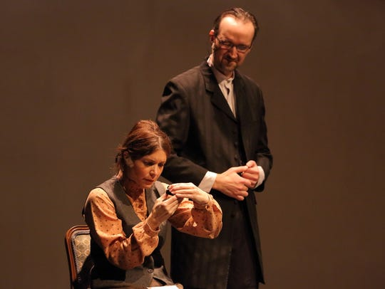 Annie (Melissa Connell), right, Mr. Anagnos  (Karl