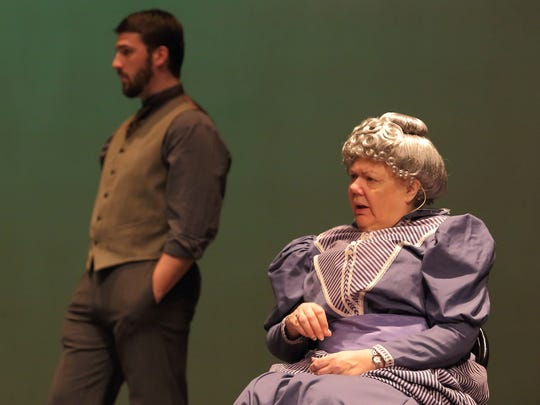 James (Andy Boettcher) and Aunt Ev (Marjorie Bicknell) are skeptical of Annie Sullivan when she arrives at the Keller household in this scene from 'The Miracle Worker.'