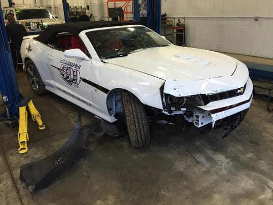 Thief blasts through car showroom in Indy 500 pace car
