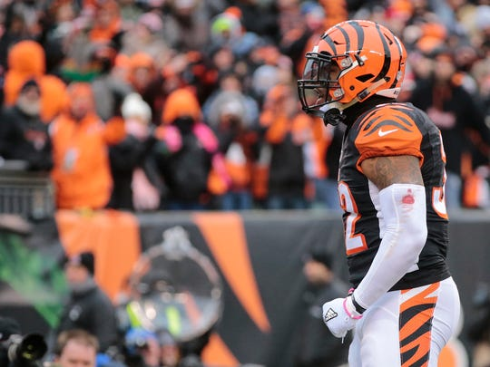 Cincinnati Bengals running back Jeremy Hill (32) celebrates a touchdown run in the second quarter during the Week 15 NFL game between the Pittsburgh Steelers and the Cincinnati Bengals, Sunday, Dec. 18, 2016, at Paul Brown Stadium in Cincinnati.