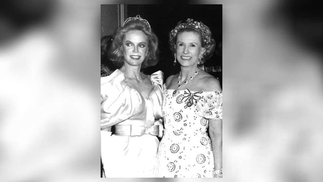 Mrs. Guilford (Jane) Dudley and Mrs. Cornelius Vanderbilt (Marylou) Whitney at the Red Cross Ball. Whitney is wearing the tiara that Sotheby's will sell during its December sales.