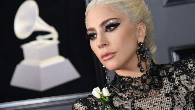 Lady Gaga is pictured arriving for the Grammy Awards in New York.