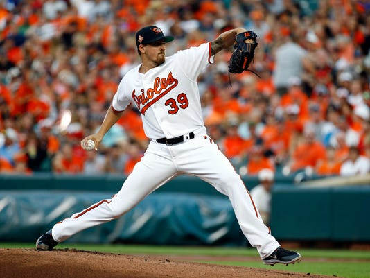 Baltimore Orioles starting pitcher Kevin Gausman throws to the Los Angeles Angels in the first inning of a baseball game in Baltimore, Saturday, Aug. 19, 2017. (AP Photo/Patrick Semansky)