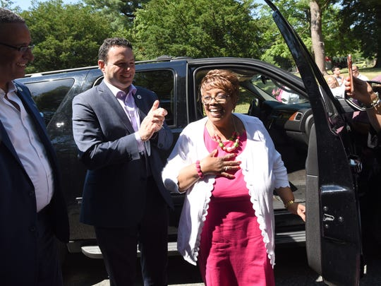 Jane Williams-Warren arrives at the surprise party in her honor on her final day as Paterson mayor, June 30, 2018.