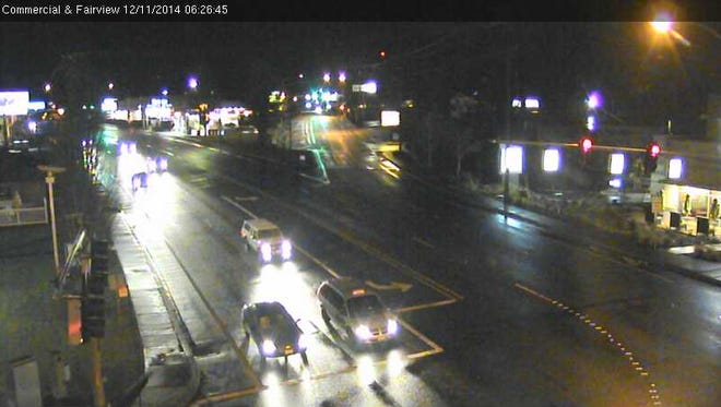 The image shows traffic at Commercial and Fairview