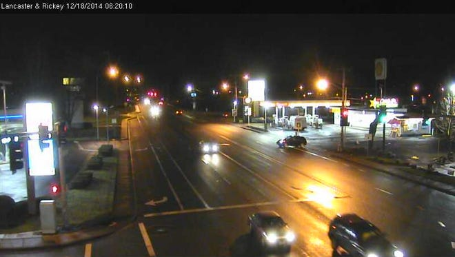 The image shows traffic at Lancaster Drive and Rickey Street.