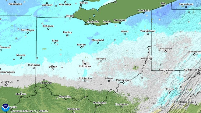 A look at snow deoths across Ohio as of late Monday morning.