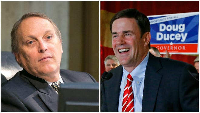 The relationship between Andy Biggs (left) and Doug Ducey is a little frightening.