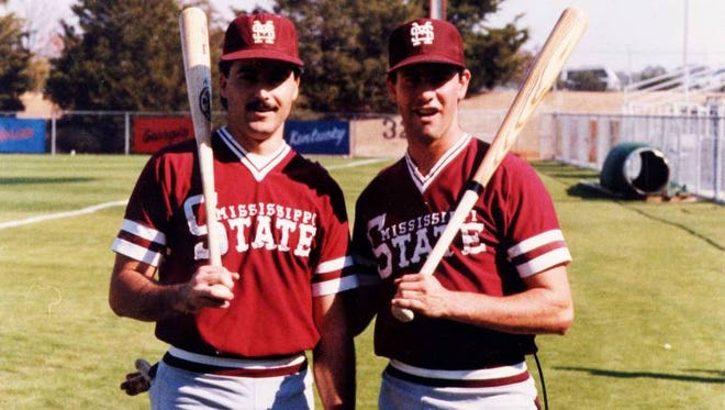 Rafael Palmeiro (left) and Will Clark document Mississippi State's 1985 baseball team in SEC Storied Monday night.