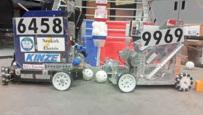 Two examples of the Williamsburg High School robotics teams' work is on display.