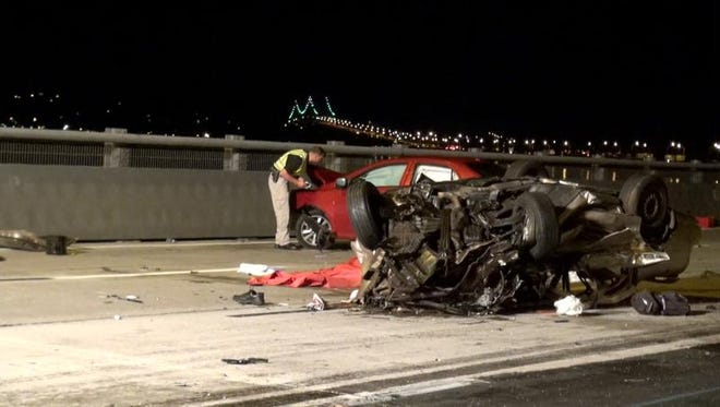 The aftermath of a 2013 fatal five-vehicle crash on the Tappan Zee Bridge that was triggered by a wrong-way driver.
