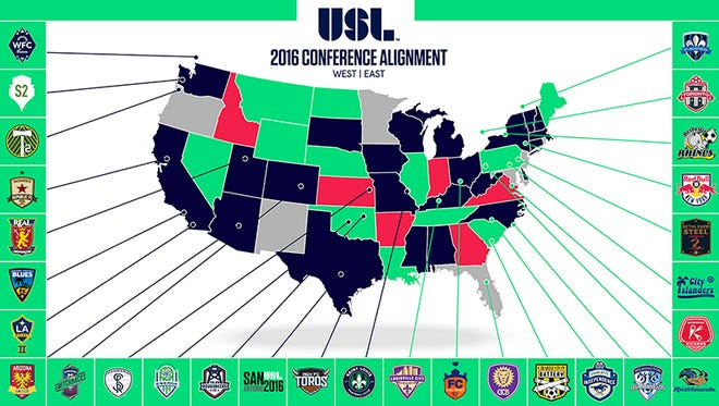 The USL's 2016 conference alignment.