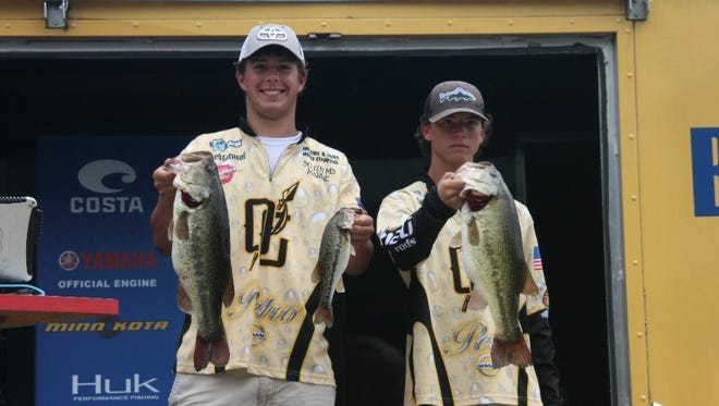 Caleb Gatwood and Cayden Soberoski of Oak Grove High School catch 14 pounds, 4 ounces to win the Costa Bassmaster High School Central Open on Toledo Bend Reservoir out of Many, La., Monday.