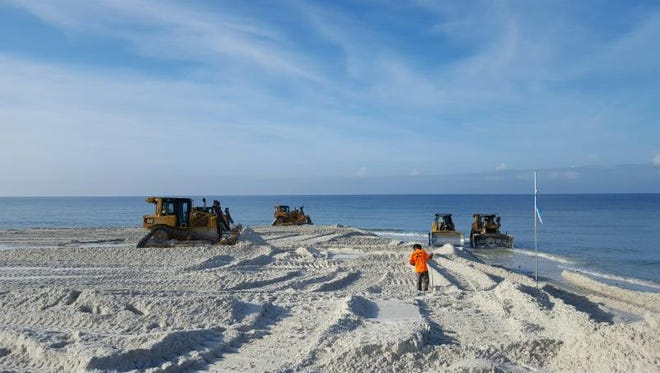 Renourishment of Navarre Beach is complete as of June 18, 2016.