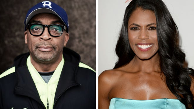"""Left: Director Spike Lee from """"2 Fists Up"""" poses at the Tribeca Film Festival Getty Images Studio on April 19, 2016 in New York City. Right: TV personality Omarosa Manigault attends WWE & E! Entertainment's """"SuperStars For Hope"""" at the Beverly Hills Hotel on August 15, 2013 in Beverly Hills, Calif."""