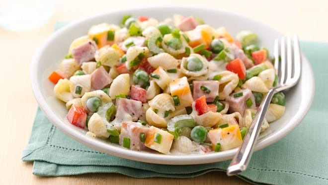 30-Minute Ham and Pasta Salad is a quick answer to dinner.